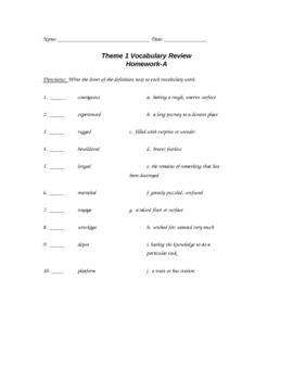 HM Theme 1 Vocab Review Matching A