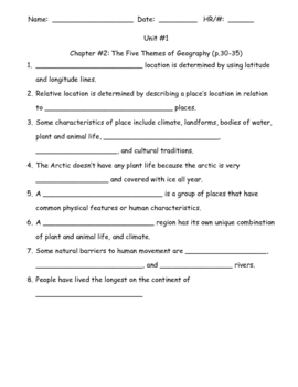 HM:  World Cultures & Geography Ch. 2 Guided Notes