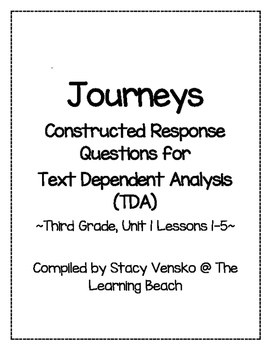 HMH CCSS Journeys 3rd Grade Constructed Response Questions {TDA}