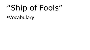 "HMH Collections ""Ship of Fools"" Vocabulary PPT"