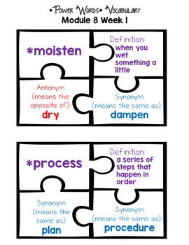 HMH Into Reading 2nd Grade *Module 8 Vocabulary Match Up Puzzles*