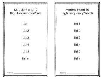 HMH Into Reading First Grade Module 9 and 10 High Frequency Booklet