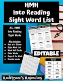 "HMH ""Into Reading"" Kindergarten Sight Word List - EDITABLE"