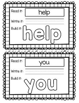 HMH Journey's 1st Grade - Unit 1 Sight Word Build Its/Play Doh Mat