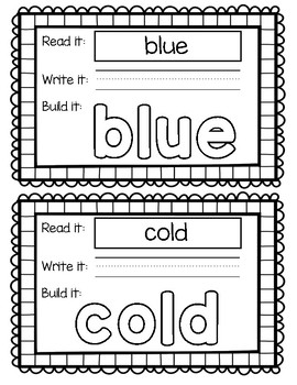 HMH Journey's 1st Grade - Unit 3 Sight Word Build Its/Play Doh Mat