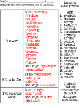HMH Journeys 2014 Common Core Unit 3 Spelling Sort