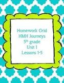 HMH Journeys 5th grade Homework Grid Unit 1
