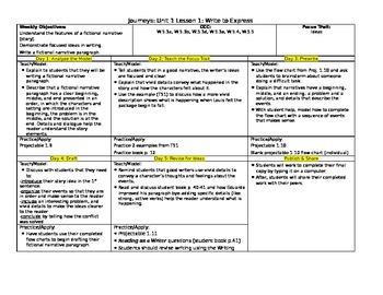 HMH Journeys Grade 5 Lesson plans- Lesson 1 WRITING