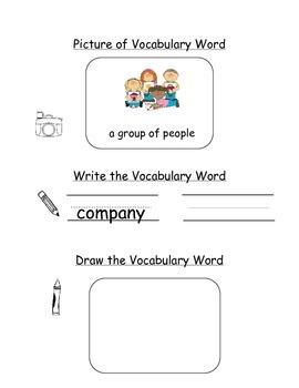 HMH Journeys Kindergarten: Unit 1, Lesson 2 Oral Vocab Notebook
