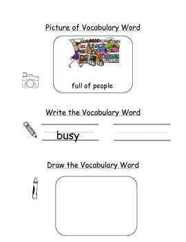 HMH Journeys Kindergarten: Unit 1, Lesson 2 Oral Vocab Notebook