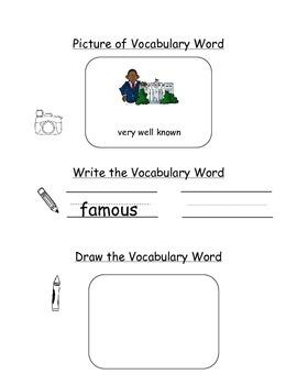 HMH Journeys Kindergarten: Unit 1, Lesson 4 Oral Vocab Word Study Notebook
