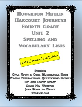 HMH Journeys Unit 2 (2012 Edition) Spelling and Vocabulary List