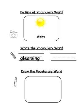 HMH Journeys Kindergarten: Unit 1, Lesson 1 Oral Vocab Word Study Notebook
