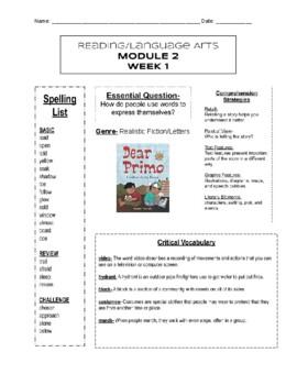 HMH into Reading- Module 2, Week 1- Newsletter- 3rd Grade