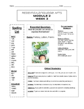 HMH- into Reading- Module 2, Week 3- Newsletter- 3rd Grade