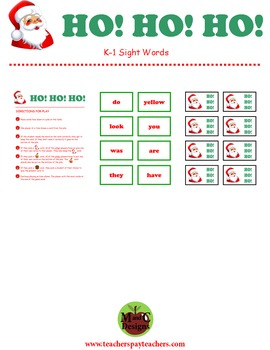 HO! HO! HO! Kindergarten & 1st Grade Sight Word Activity