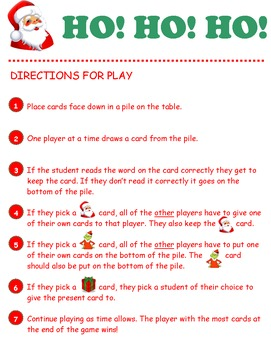 HO! HO! HO! R-controlled Vowels Phonics -er, -ir, -ur, -or, -ar Game Activity