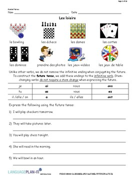 HOBBIES AND PASTIMES, FUTURE PRACTICE (FRENCH)