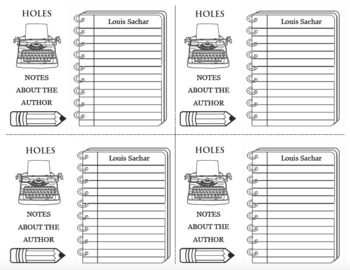 HOLES Author Notes LOUIS SACHAR Note Template Research Biography