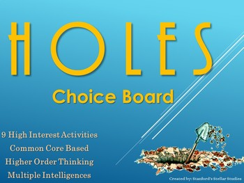 HOLES Choice Board Tic Tac Toe Novel Study Activities Menu Assessment