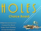 HOLES Choice Board Tic Tac Toe Novel Study Activities Menu