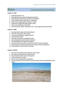 HOLES Comprehension Questions & Answers