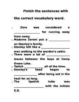 HOLES Novel Guide - Vocabulary
