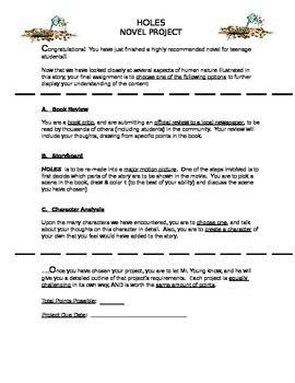 HOLES Novel Project - 3 Choices!!!