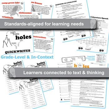 HOLES Unit - Novel Study Bundle (by Louis Sachar) - Literature Guide