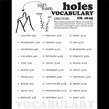 HOLES Vocabulary Chapters 18-35 (30 words)
