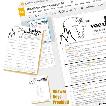 HOLES Vocabulary List and Quiz Assessment (Created for Digital)