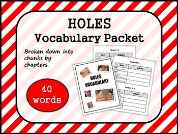 HOLES by Louis Sachar VOCABULARY PACKET