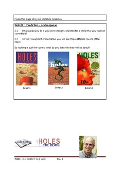 HOLES - class booklet & study guide