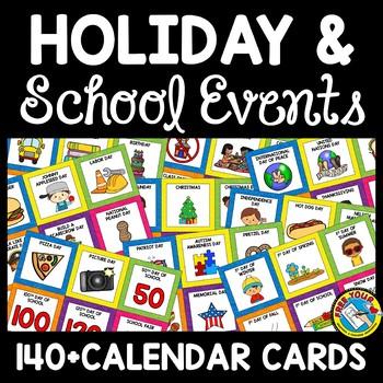 POCKET CHART CALENDAR HOLIDAY EVENTS CARDS BRIGHT CLASSROOM DECOR