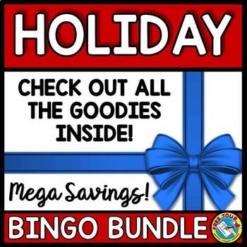 HOLIDAY BINGO BUNDLE (CHRISTMAS ACTIVITIES KINDERGARTEN, FIRST GRADE, PRESCHOOL)