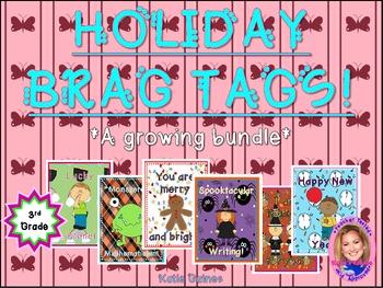 HOLIDAY Brag Tags- a growing bundle! (Third Grade)