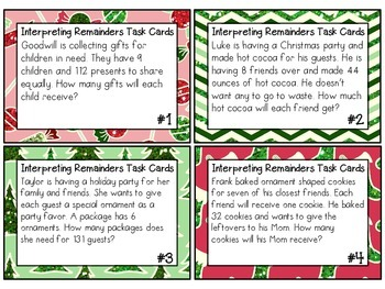 HOLIDAY EDITION Interpreting Remainders Task Cards 4.OA.3