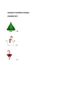 CHRISTMAS/ WINTER HOLIDAY FUN MATH PUZZLE- K-2