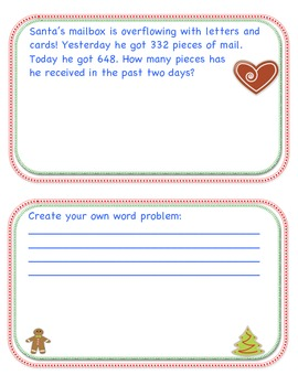 HOLIDAY MERRY MATH PROBLEMS (Addition & Subtraction to 1000) MCC2.NBT.7