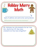 HOLIDAY MERRY MATH PROBLEMS (Addition & Subtraction to 100