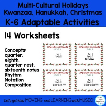 Holiday Music Class No Prep  Composition Worksheets