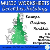 Holiday Music Class No Prep  Rhythm and Composition Worksheets K-6