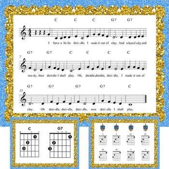 """Guitar Holiday Song: """"I Have a Little Dreidel"""" with Chords and Game"""