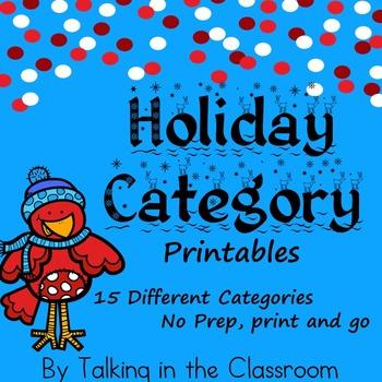 HOLIDAY THEMED CATEGORY PRINTABLES