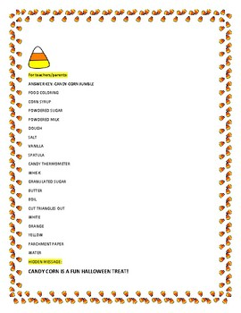 HOLIDAY TREAT: INGREDIENTS FOR CANDY CORN: A WORD JUMBLE ACTIVITY