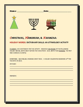 HOLIDAY WORDS: AN ETYMOLOGY ACTIVITY:CHRISTMAS, HANUKKAH & KWANZAA
