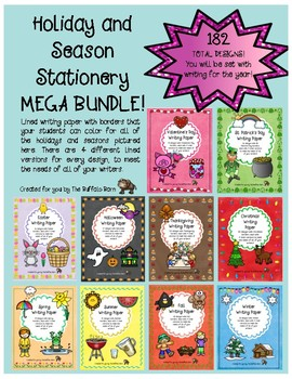 HOLIDAYS AND SEASONS WRITING PAPER MEGA BUNDLE- Lined Stationary with Borders