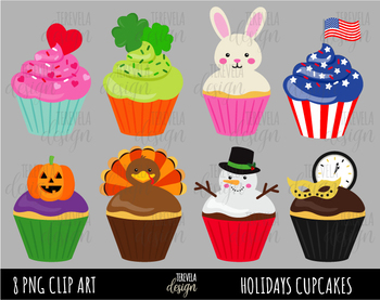 Cupcake Cards Valentine  Easter  Birthday  Autumn  Thanksgiving  Halloween  Christmas