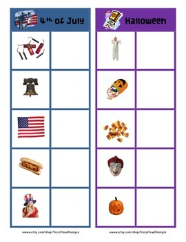 HOLIDAYS  MATCH & SORT ACTIVITY w PECS autism speech therapy aba printable pdf