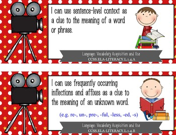 "HOLLYWOOD - 1st Grade Common Core Standards ""I CAN"" format / posters"